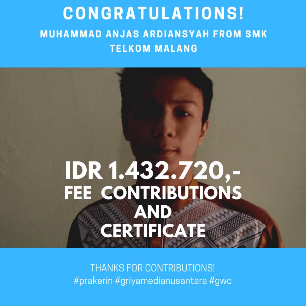 Congratulations Prakerin Muhammad Anjas Ardiansyah SMK Telkom Malang
