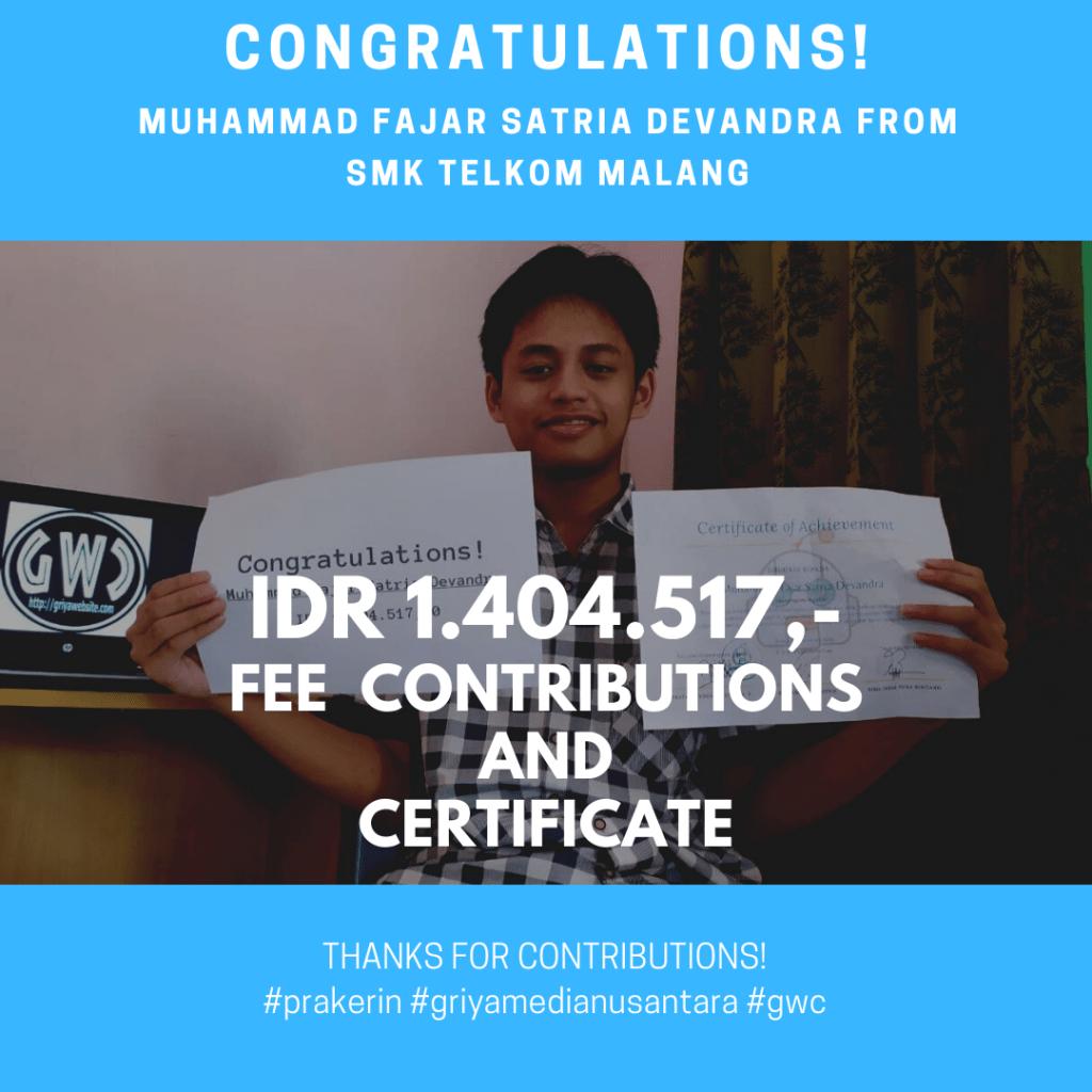 Congratulations Prakerin Muhammad Fajar Satria Devandra SMK Telkom Malang