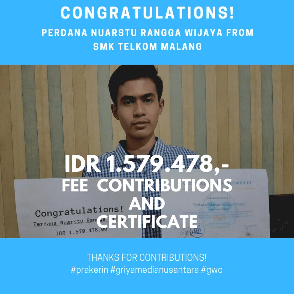 Congratulations Prakerin Perdana Nuarstu Rangga Wijaya SMK Telkom Malang