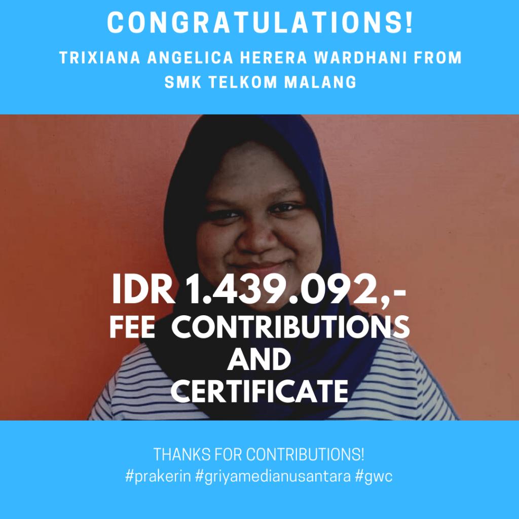 Congratulations Prakerin Trixiana Angelica Herera Wardhani SMK Telkom Malang