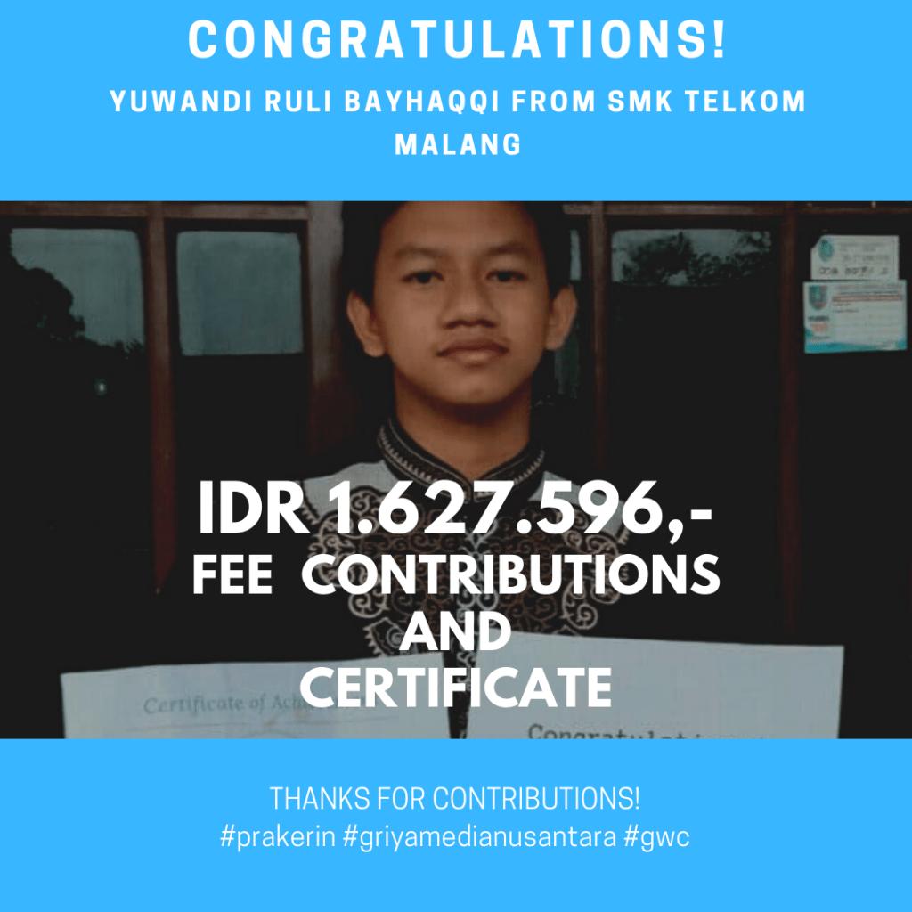 Congratulations Prakerin Yuwandi Ruli Bayhaqqi SMK Telkom Malang